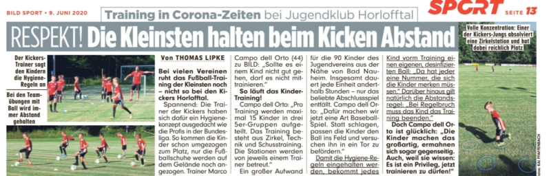 Kickers Horlofftal in der aktuellen BILD vom 09.06.2020