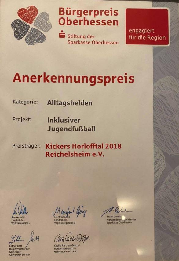 Kickers erhalten wichtige Auszeichnung der Sparkasse Oberhessen